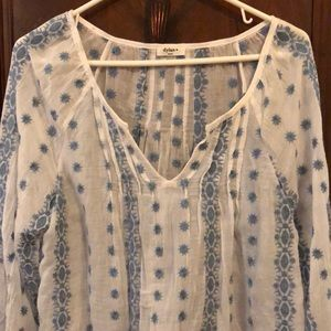 Small blouse Dylan brand. Sheer w/ blue embroidery